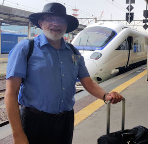 LJK in Nagasaki, Japan, with JR Kyushu 'Sonic' electric train (not a 'bullet' train)